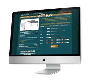 Computer monitor displaying Scott's Carports website